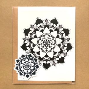 ❊❊ Mandala Card + Sticker Set | Handmade ❊❊
